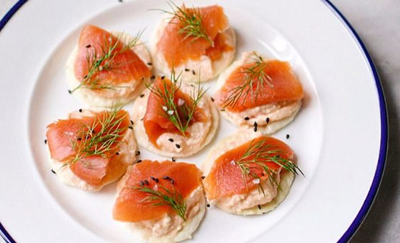 Asian Salmon & Cream Cheese Canapes
