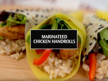 marinated chicken handrolls
